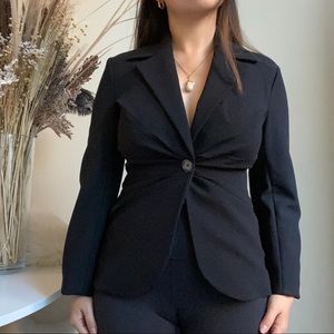 Zara tailored gathered pleated black blazer size M
